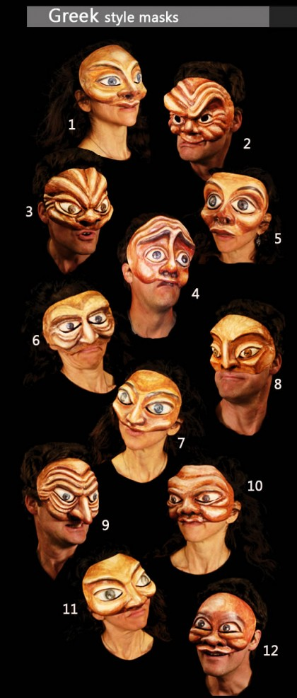 Greek masks for theaters and schools