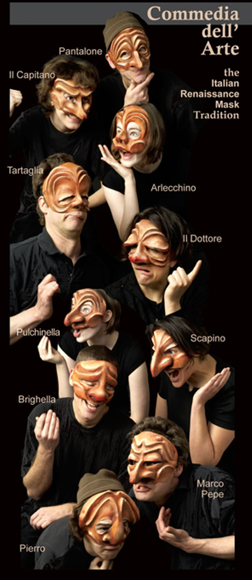 commedia masks for schools and theaters