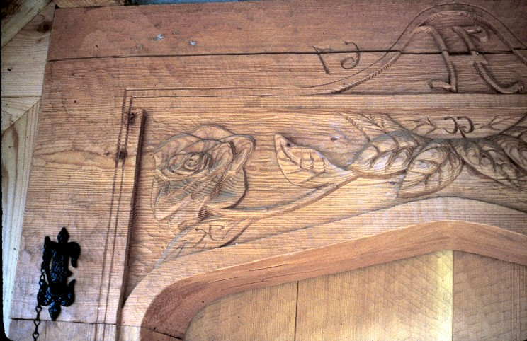 Front Door lintel carved with Roses